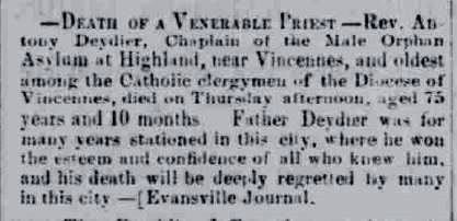 Death notice from the Indianapolis Sentinel, 15 February 1864